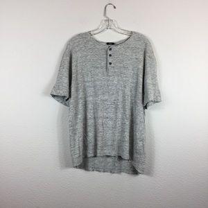 Gray Vince Linen Short Sleeve Button Shirt XL